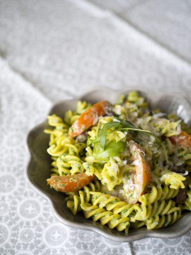 Ruccolapasta med parmesan