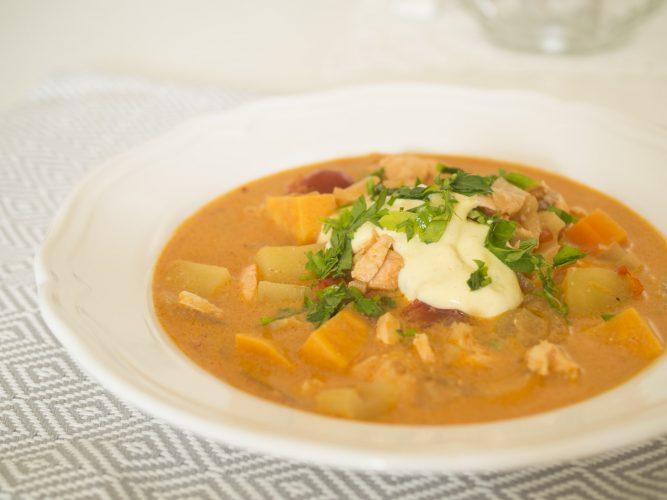 Fisksoppa med sötpotatis och fänkål
