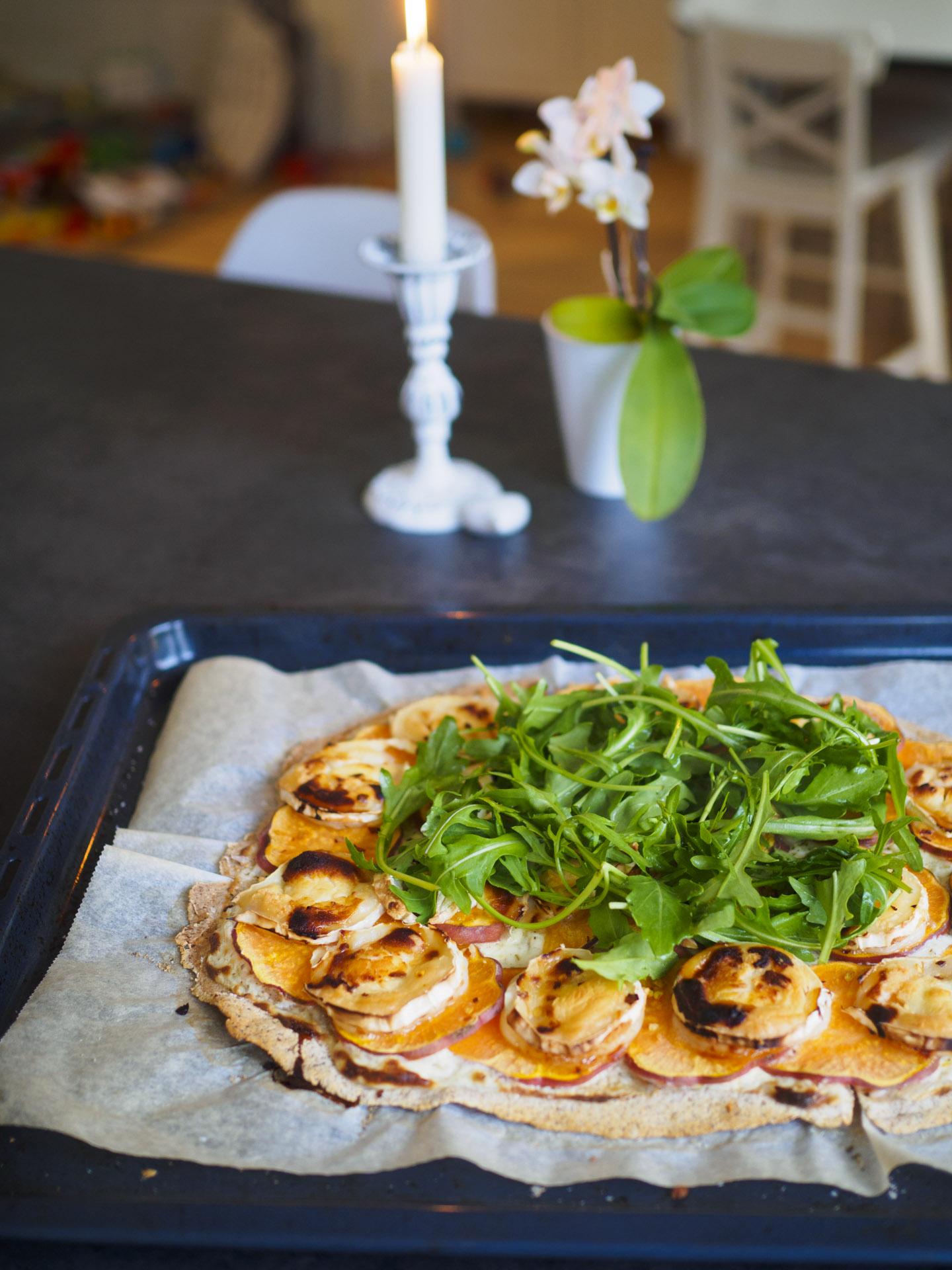 Sötpotatispizza med chévre