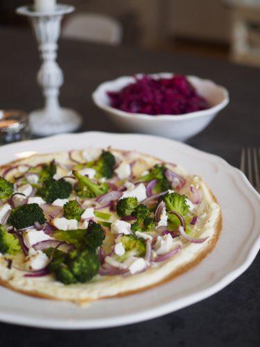 Glutenfri kost - Tortillapizza med broccoli och fetaost
